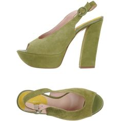 Alberto Moretti Sandals ($226) ❤ liked on Polyvore featuring shoes, sandals, military green, olive green shoes, buckle shoes, ankle tie sandals, army green shoes and ankle wrap sandals