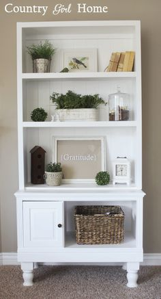 COUNTRY GIRL HOME. From small to tall.  Lindsey added a shelf system on this small table. Beautiful