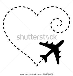 stock vector : Vector Illustration of Airplane Drawing a Heart Shape in The Sky
