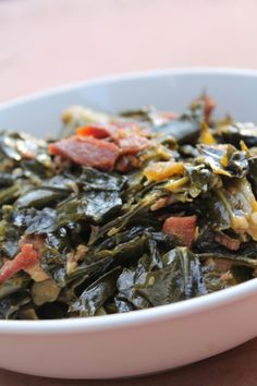 Want a classic, comforting soul food recipe? These soul food style collard greens are packed with flavor, accented with bacon for an extra savory touch.
