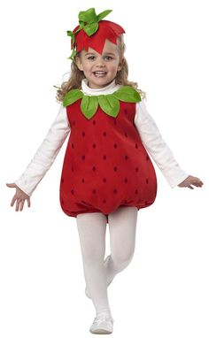Product Description This Toddler Strawberry Girl Costume includes the red printed romper with collar and the scrunchie with the attached hat. White turtle neck is not included. Includes romper scrunchie w/hat Fruit Costumes, Carnival Costumes, Toddler Costumes, Baby Costumes, Strawberry Shortcake Costume, Unique Halloween Costumes, Girl Halloween, Haunted Halloween, Kids Fashion