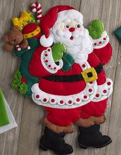 Bucilla 'Here Comes Santa' - Felt Wall Hanging - Stitchery Applique Kit - 86737 Felt Christmas Decorations, Beaded Christmas Ornaments, Snowman Ornaments, Glass Ornaments, Homemade Christmas, Christmas Crafts, Christmas Christmas, Gingerbread Crafts, Felt Wall Hanging