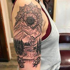 Tattoos Beautiful mandala landscape by Dan Dozier of Primal Decor. Beautiful mandala landscape by Dan Dozier of Primal Decor. Half Sleeve Tattoos Drawings, Quarter Sleeve Tattoos, Tattoos For Women Half Sleeve, Full Sleeve Tattoos, Nature Tattoo Sleeve Women, Tattoo Sleeves, Half Sleeve Flower Tattoo, Shoulder Sleeve Tattoos, Cute Tattoos