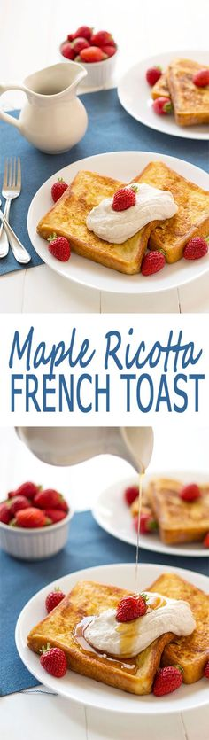 Maple Whipped Ricotta French Toast - like stuffed french toast without the fuss! | Kitchen Gidget