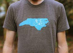 BIKE T-SHIRT, BIke Shirt, North Carolina, Screen Printed Shirt, Bicycle Shirt