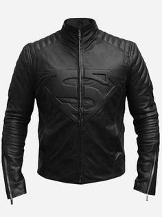 f157028e43b Superman Black Leather Biker Jacket for Men Chamarras Para Motociclistas
