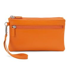 ili Double-Zip Leather Wristlet, Women's, Orange