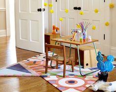 A modular rug by Kinder MODERN adds zest to a petite activity area. #dwell #howtodesignakidsroom #kidsroom #moderndesign #howto #diy #designtips Transportation Theme, Higher Design, Modern Kids, Design Firms, Innovation Design, Luxury Furniture, Kids Rooms, Company Profile, Playroom