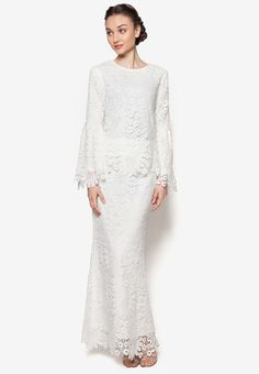 Buy Lubna Full Flower Lace Flare Sleeve Kurung Online | ZALORA Malaysia