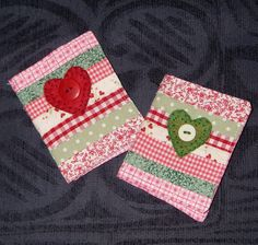 Needlecases £4 ♥ Patchwork needle case decorated with felt heart and button detail, containing toning interior and soft felt needle page.   Measures approx 7 x 9cm     Made to order in your colour choice     Please state colour when ordering