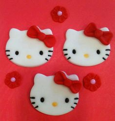 Hello Kitty Fondant Cupcake Toppers
