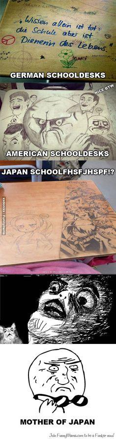 Image result for japanese school desk meme