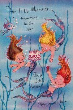 Vintage Three Little Mermaids Birthday Greetings Card