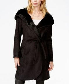 GUESS Hooded Long Faux-Shearling Coat