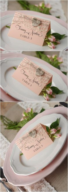 Rustic blush pink lace place card