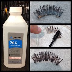 Gently clean your lashes with alcohol. Sooo happy I found this.