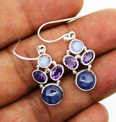 earrings silver 925 sterling jewelry natural multiple gemstone handmade 5.00gm
