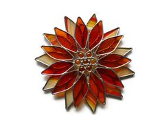 Stained Glass Orange Flower - Suncatcher Window & Garden Decor via Etsy