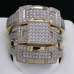 10K Yellow Gold Finish Round Cut Diamond Engagement Bridal Wedding Ring Trio Set #br925silverczjewelry
