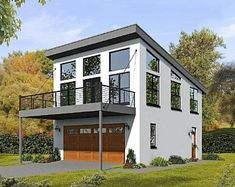 Modern garage apartment plan works well as a weekend retreat or guest house and offers a garage, 2 bedrooms and 1 bath; Garage Apartment Plans, Garage Apartments, Cool Apartments, Garage Plans, Garage Ideas, Apartment Bedrooms, Barn Plans, Garage Loft, Car Garage