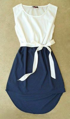 Beautiful White and Blue Dress for Spring