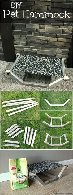 Pet Rabbit Ideas ♥ This easy-to-make and inexpensive DIY Pet Hammock is the perfect place for your fur-baby to relax.♥ Pet Rabbit Ideas ♥ This easy-to-make and inexpensive DIY Pet Hammock is the perfect place for your fur-baby to relax. Diy Cat Toys, Diy Pet, Dog Toys, Diy Bunny Toys, Pet Beds Diy, Diy Animal Toys, Diy Toys For Rabbits, Diy Chinchilla Toys, Diy Cat Bed
