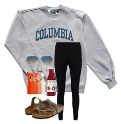 """""""ootd"""" by chloehooker ❤ liked on Polyvore featuring Columbia, Emi-Jay, Boohoo, Birkenstock and Ray-Ban"""