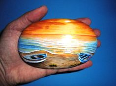 Painted stone landscape Sunset on the beach with par RockArtAttack