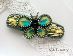 KistaT Jewelry: Bead embroidered butterfly hairclip