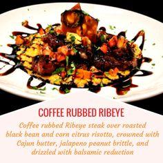 COFFEE RUBBED RIBEYE -- Coffee rubbed Ribeye steak over roasted black ...