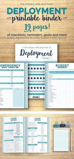 FREE printable! Beautiful 19-page deployment binder for military spouses! Keep all things deployment organized neatly in one convenient place. via @lauren9098
