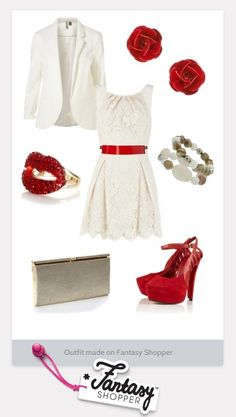 Outfit created on Fantasy Shopper - girly chic with cream and red #loveit