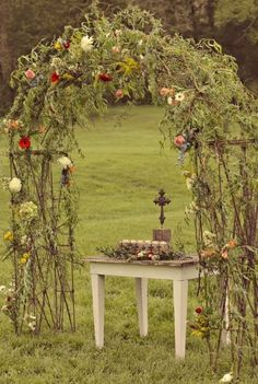 this is striking and lovely 28 Amazing Woodland Wedding Arches | HappyWedd.com