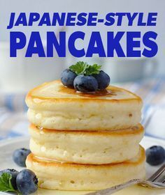 Japanese Hot Cakes- fluffier and bit sweeter- 2 large eggs cup plus 1 tbsp milk 1 tsp vanilla 1 cups flour 1 tsp baking powder 3 Tbsp plus 1 tsp sugar Beat eggs, milk, vanilla until foamy. then add to wet. Let sit 15 min. Breakfast And Brunch, Breakfast Dishes, Breakfast Pancakes, Pancake Cups, Breakfast Pockets, Breakfast Recipes, Pancake Stack, Pancake Recipes, Perfect Breakfast