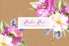 Rustic Rose Watercolour Clip Art by CreateTheCut on @creativemarket