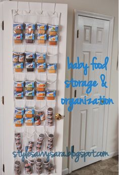 Use a shoe organizer to store jars of baby food in your pantry.
