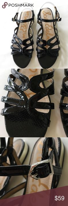 "NEW SAM EDELMAN black patent vegan flat sandal 8.5 New in box w tags! All manmade, retail $100. Low heel measures 1/2""'with gold tone flash. Insole measures 10 1/4"" long and 3 1/2"" wide. Glitter and glitz. Shaped wedge heel measures 4"" high. Please visit my closet for new with tags designer sandals, shoes, boots, and swimwear plus lingerie!  Bundle discounts. (LC0012) Sam Edelman Shoes Sandals"