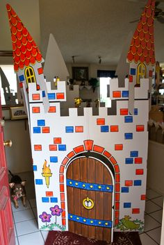 Snow White Princess Tea Party - Castle at the front door girls went through castle adults entered along the side of the castle - painted by my daughter Brittany