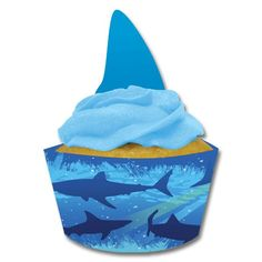 A school of sharks is circling... your birthday cupcakes!  Bring your shark feast to life with the Shark Splash Cupcake Wrappers and Picks.  The set includes 12 cupcake wrappers featuring a scene of s