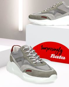 The sneaker trend is now new and improved with surprisingly Bata styles like these grey beauties. Bata Shoes, Men's Shoes, Grey Sneakers, Shoe Collection, Moccasins, Oxford, Loafers, Boots, Style