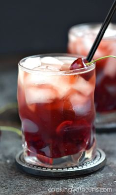 Cherry Whiskey Smash - Cooking With Curls Whiskey Cocktails, Summer Cocktails, Cherry Whiskey, Whiskey Smash, Cherry Liqueur, Recipe For Teens, Exotic Food, Alcohol Recipes, Cranberry Juice