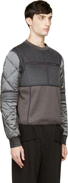 Calvin Klein Collection Grey Quilted Cupro & Wool Gotham Sweatshirt