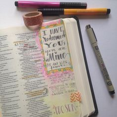 What pens and paint to use in a journaling Bible. Bible Study Journal, Scripture Study, Bible Art, Art Journaling, Journal Art, Scripture Journal, Scripture Doodle, Bible Prayers, Bible Scriptures