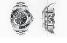 Rolex Deepsea Watch: 904L steel, case back in grade 5 titanium – henrywilsonjewelrs.com O Ring, Rolex Watches, Steel, Sketching, Accessories, Wristwatches, Poster, Steel Grades, Jewelry
