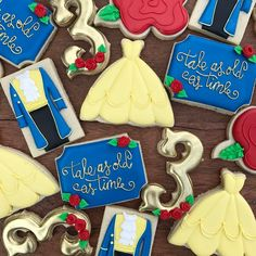 "527 Likes, 16 Comments - Aime Pope (@thepaintedpastry) on Instagram: ""Beauty and the Beast birthday cookies """