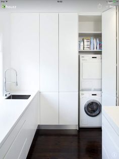 Bauhaus look utility room by Art of Kitchens Pty Ltd Bauhaus-Look Hauswirtschaftsraum by Art of Kitchens Pty Ltd - Own Kitchen Pantry Laundry Cupboard, Utility Cupboard, Laundry Closet, Laundry Room Storage, Laundry In Bathroom, Kitchen Storage, Laundry Area, Diy Kitchen, Utility Room Storage