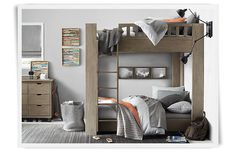 Similar to the loft bed we built Alexander but with the bunk underneath. I still like the finish on this one but it doesn't coordinate with the rest of his furniture. Rooms | Restoration Hardware Baby & Child