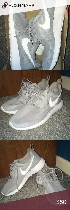 "NEW NIKE ROSHE RUNS NEW ""WOLF GREY/WHITE"" NIKE ROSHE RUNS. They're small on me and I'm willing to negotiate the price Nike Shoes Sneakers"