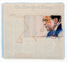 California-based artist Lauren DiCioccio hand-embroiders over old issues of The New York Times. Each piece is wrapped in cotton muslin which one selected image hand-embroidered.