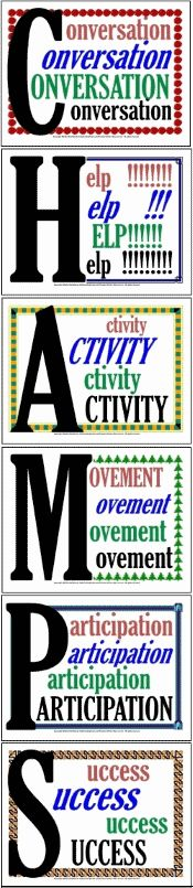 CHAMPs Classroom Management Signs: 100 behavioral expectation signs ready for display on the classroom whiteboard, bulletin board, or walls.  Covers virtually any learning activity...